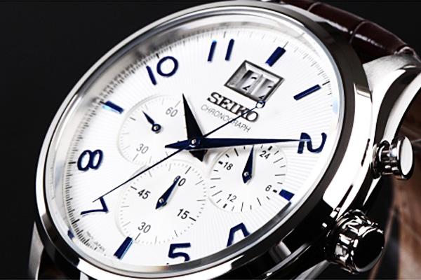 1円~セイコー逆輸入ビッグデイトカレンダークロノ腕時計本革