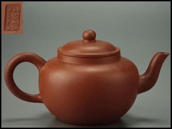 【香】時代煎茶道具 唐物 朱泥 水平壷 1 急須 孟臣在銘 宜興紫砂 中国