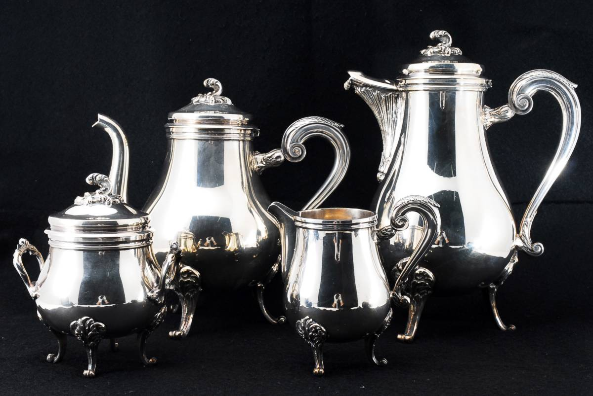 クリストフル 純銀重厚 ルイ15世スタイル ティーセット4点SET 208191