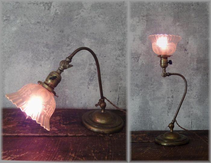 戦前 真鍮 真鋳 インダストリアル アトリエ テーブル デスク 卓上 ランプ アンティーク 大正 レトロ ガラスシェード