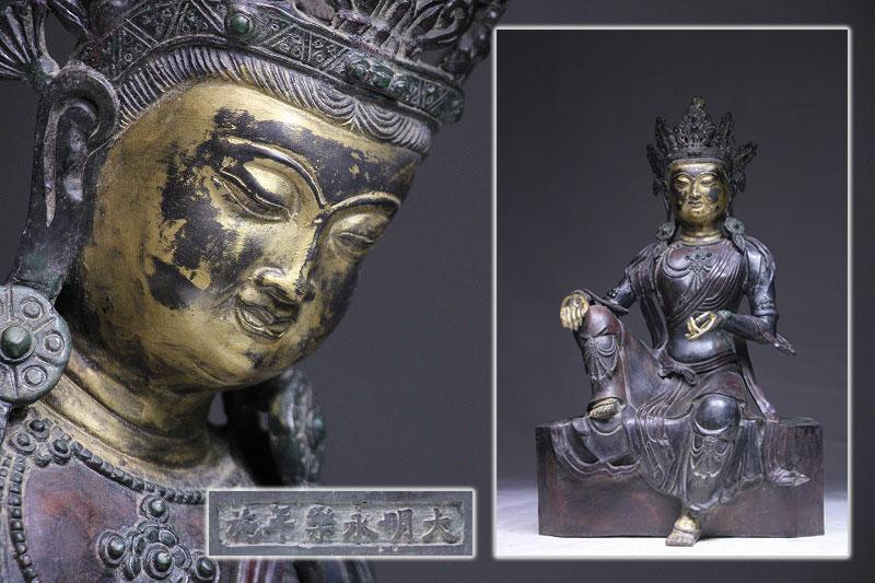 大明永樂年製 金銅 密宗仏像 密教收集 秀逸作 高47cm Y05E07A