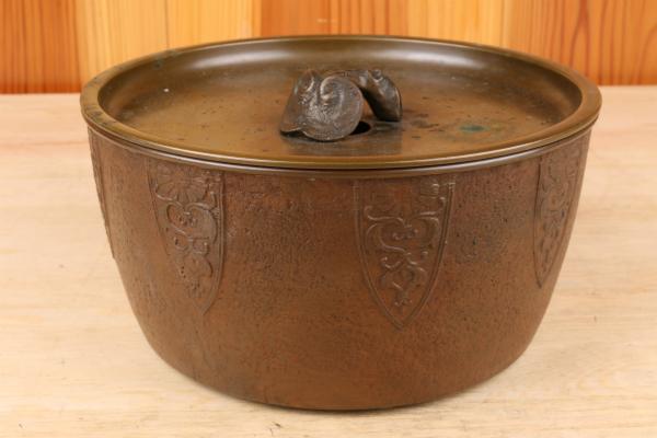 【新】古銅 霊芝 特大 建水 煎茶道具