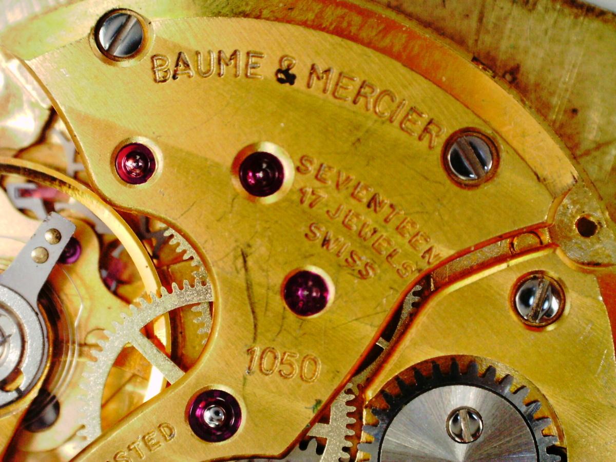 ★1円スタート BAUME&MERCIER ボーム&メルシェ 文字盤&ムーブメント 2点セット 手巻き cal.1050 17JEWELS 一つのみ稼働OK 時計パーツ★