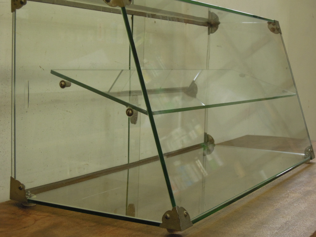 送料無料★アンティーク◆台形全面ガラスのショーケース レトロ卓上コレクションケース ガラスケース ガラス戸棚