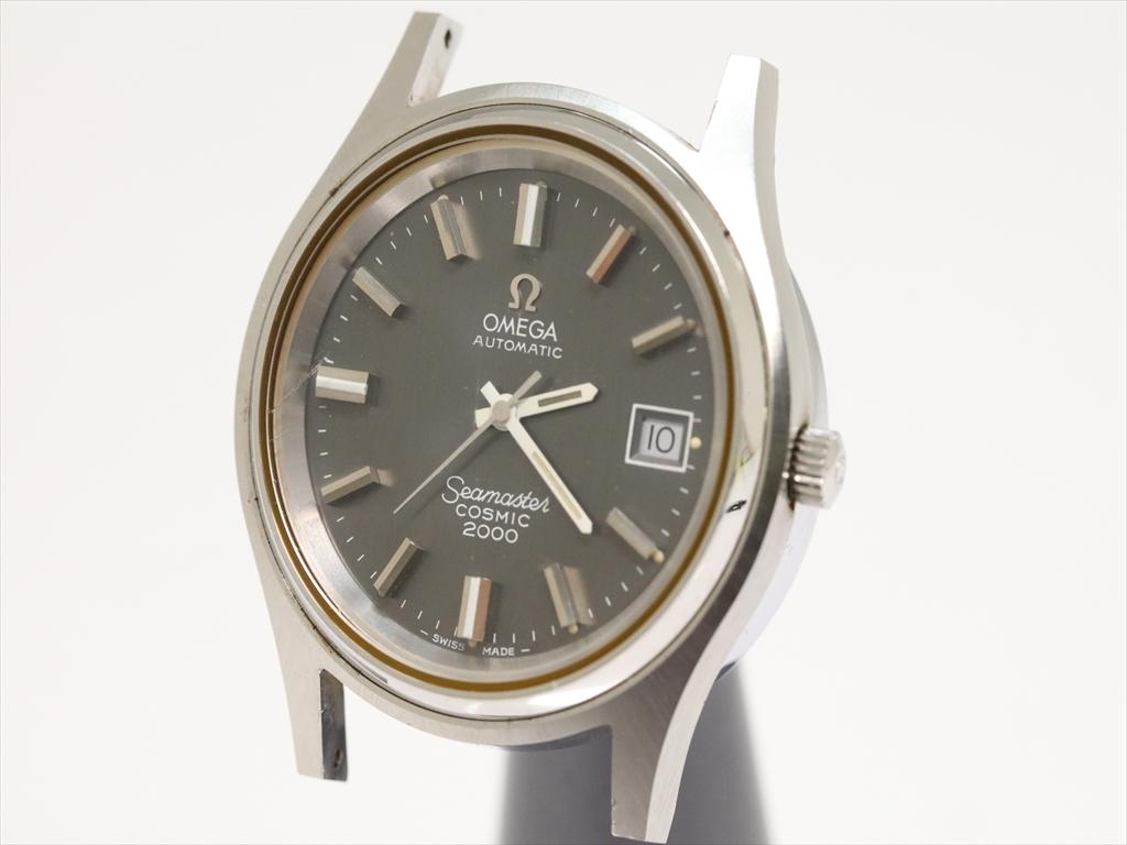 可動品【オメガ】シーマスター コスミック 2000 自動巻き スイス製 デイト グレー文字盤 シルバー 本体 メンズ腕時計 P221