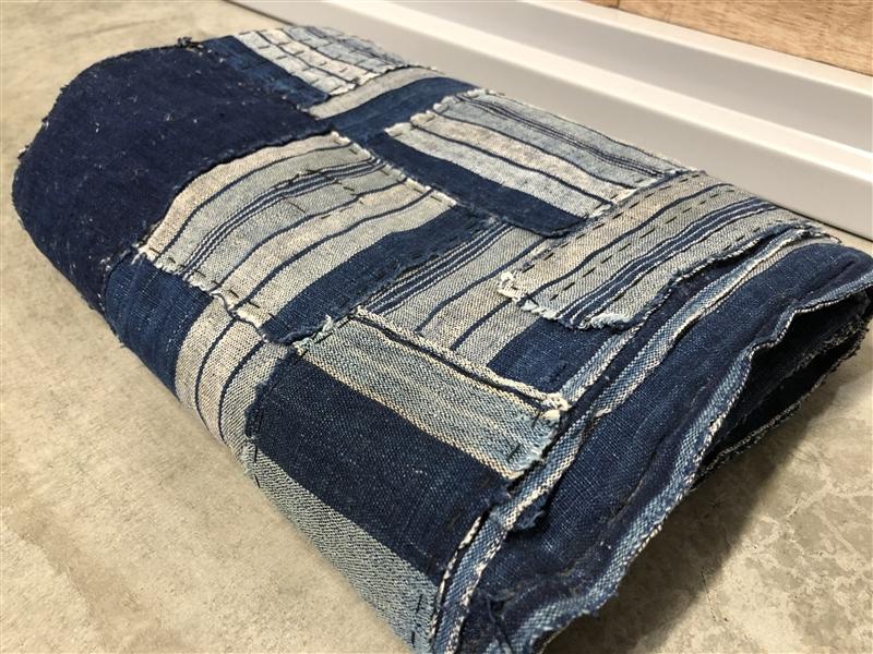 101【初荷】 古布 木綿 藍染 縞木綿 継接ぎ 襤褸 3幅 洗濯済み ボロ リメイク素材 パッチワーク ハンドメイド インディゴ