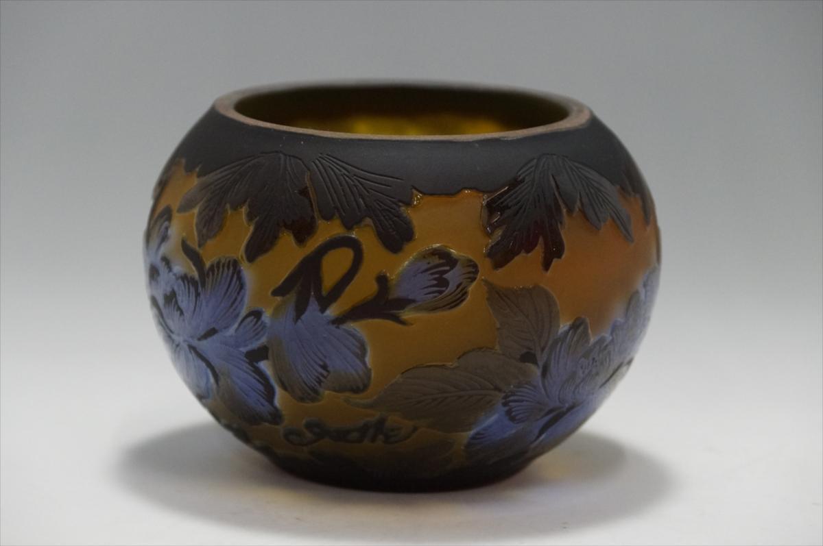 ☆ 【証明書】 エミール・ガレ  Candle Bowl tip ボンボニエール  技法 カメオ彫り 被せガラス  M-0094 シリアル NO.27822