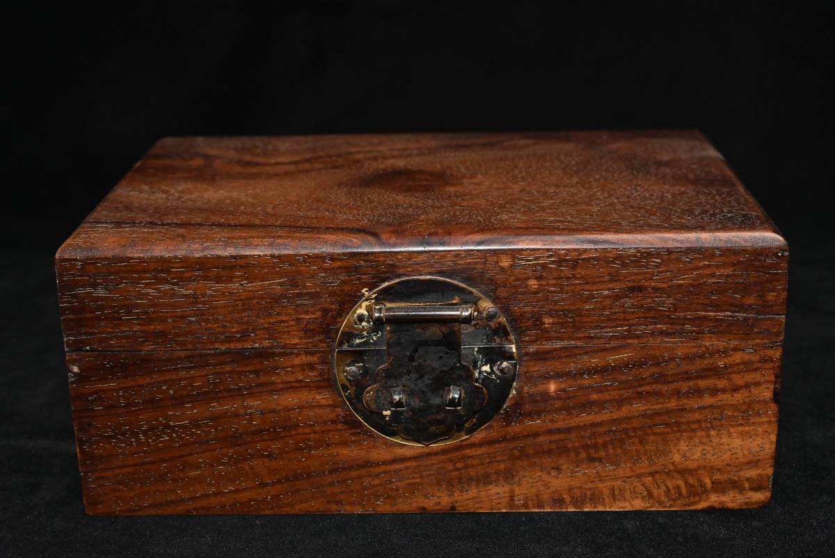 旧蔵出 貴重唐木 花梨木 細工製 銅扣 收納箱 錢箱
