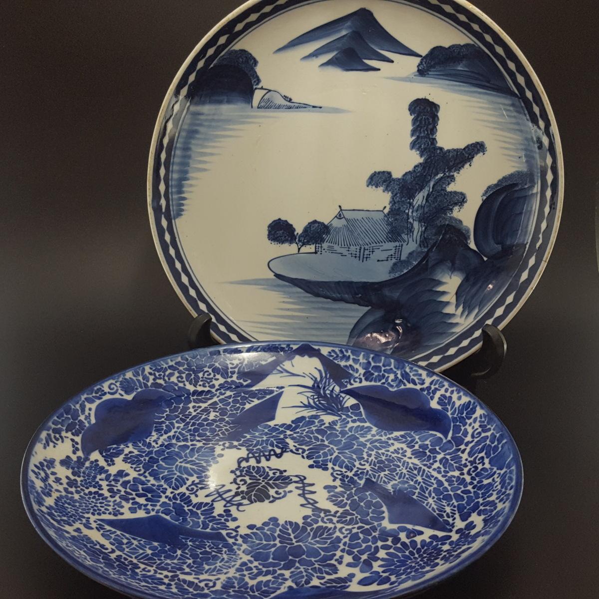 【宝蔵】伊万里 時代染付飾皿『山水風景文と草花文額皿二種』 大皿 古美術 骨董