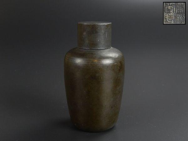 中国古玩 唐物 煎茶道具 古錫造 茶心壷 茶入 在印 時代物 極上品 初だし品 8822