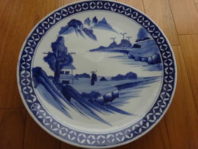藍の色合いが良い味です◆古美術/染付 山水文大皿 飾皿 陶磁器 和食器 骨董品 綺麗です。