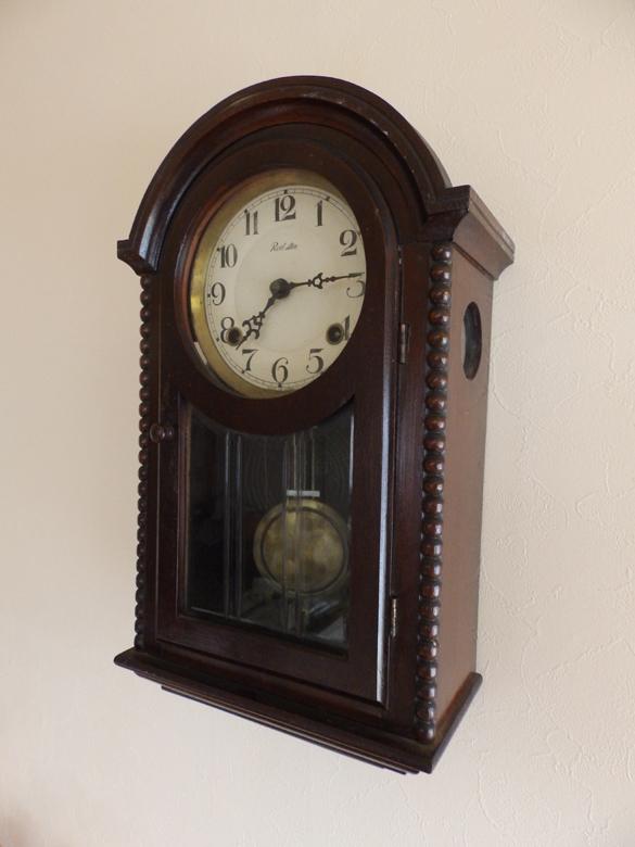 アンティーク 柱時計 メーカー不明 Red Sterの表示 ゼンマイ式 稼働中 美品