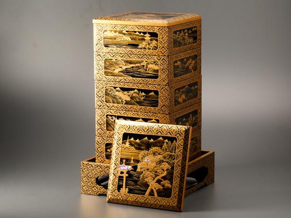 【流】時代漆器 研ぎ出し風景蒔絵五段重箱 箱付 CJ388