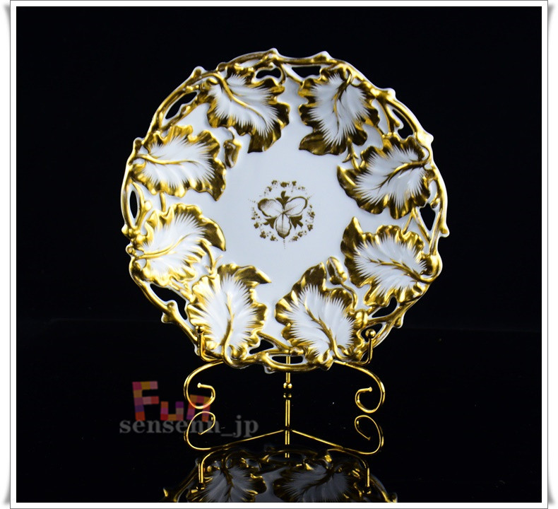 西洋収蔵品 1837年 ドイツ製 KPM 手描き 磁器彫刻 24K金メーキ鑑賞盤 コレクション 直径:25.5cm高:4.5cm