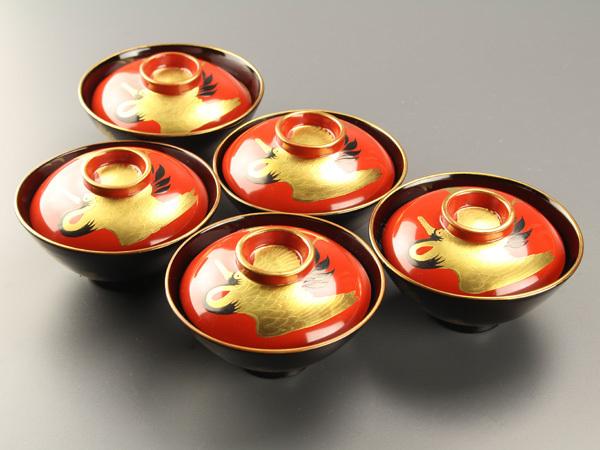 【流】古美術品 鶴松図蓋茶碗五客 JH904