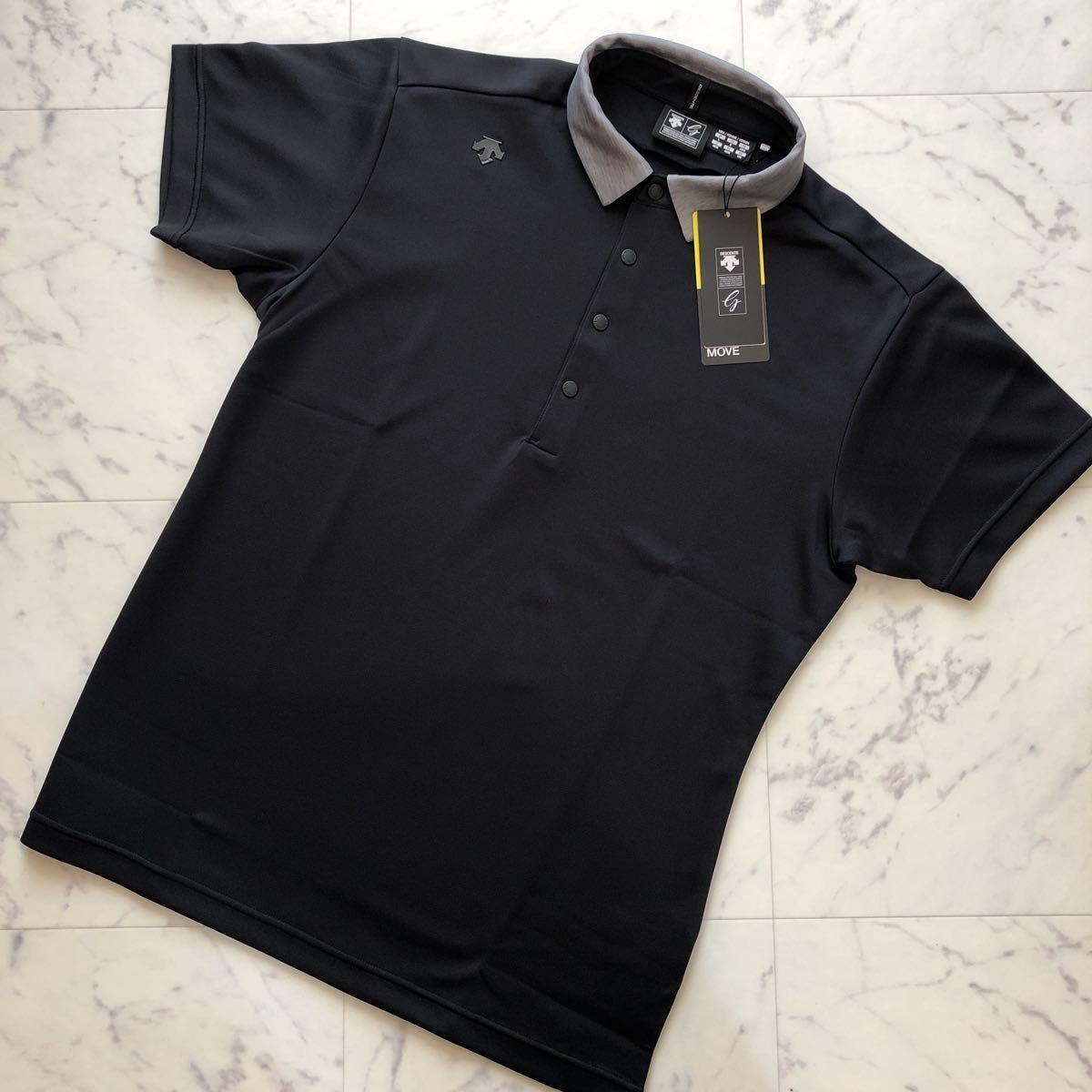 【新品】DESCENTE GOLF デサントゴルフ ウォーターブロック鹿の子ショートスリーブシャツ DGMMJA02 / ブラック / L / #515