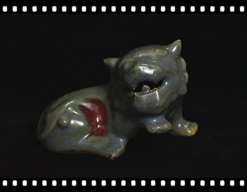 【禅子】骨董品 中国古磁文化 宋鈞 鈞窯 窯釉『獅』置物 文房具