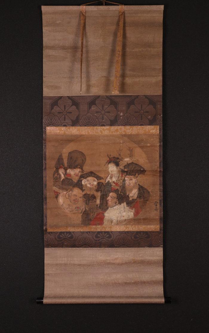 【模写】【一灯】t5384〈雪舟〉七福神図 室町時代 中国画 備中の人