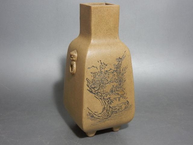 時代 銕画軒(鉄画軒)製 在銘 風景×漢詩彫り紋 白泥花生 煎茶道具