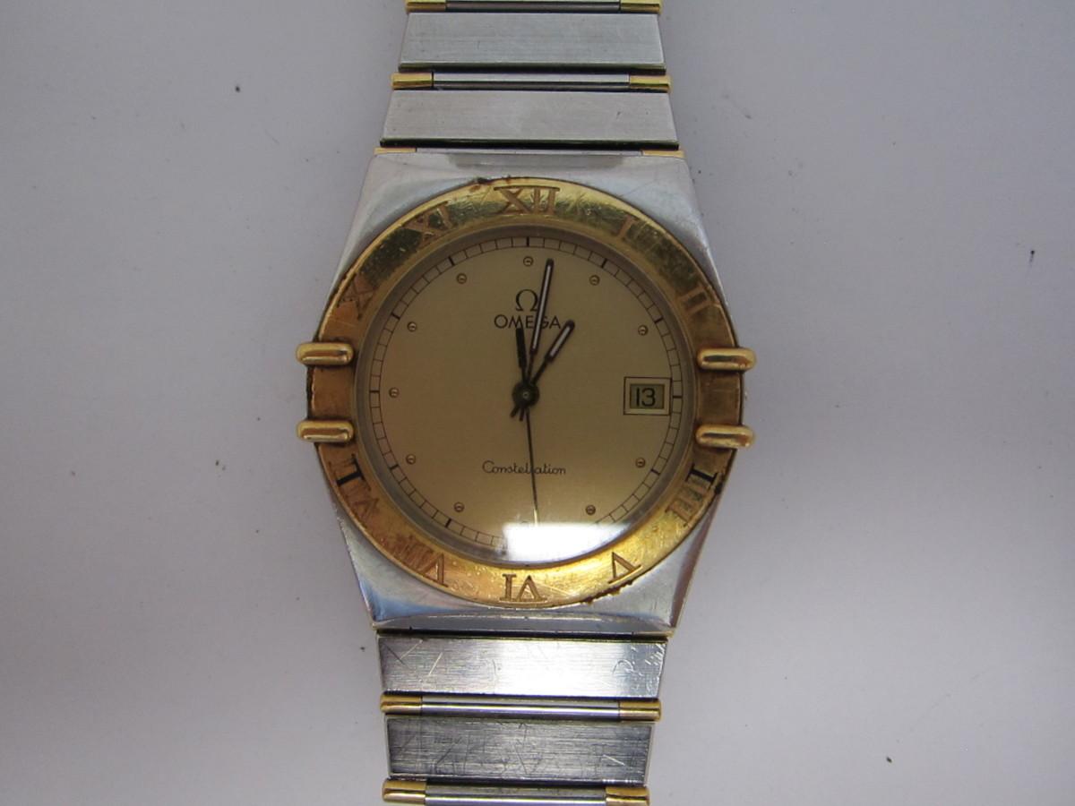 08-60 同梱不可 OMEGA オメガ コンステーション コンビ デイト クオーツ メンズ 腕時計