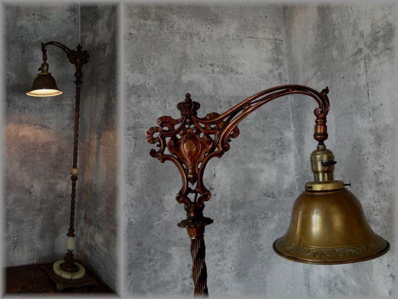 アンティーク ヴィクトリアン フロア ランプ スタンドライト アメリカ 大正ロマン アトリエ 戦前 鉄脚 レトロ シャビー