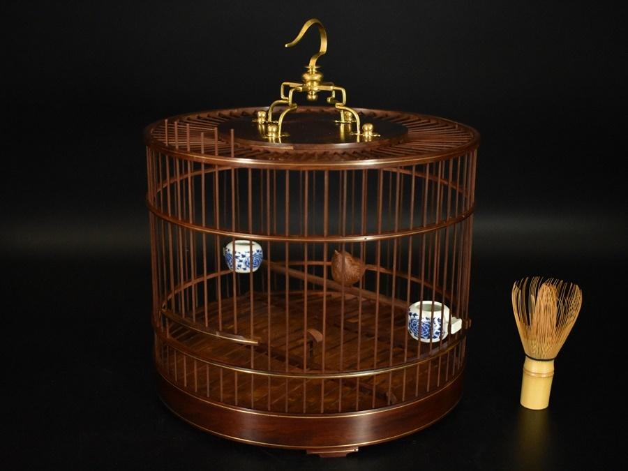 中国古玩 唐物 唐木造 鳥籠 木彫 鳥 置物 染付 餌皿 飾り物 細密細工 古美術品 高さ33,5cm
