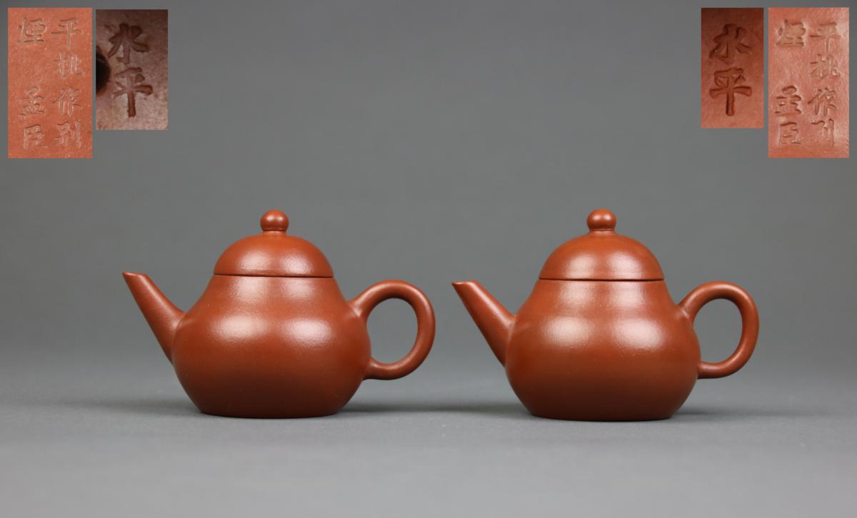 【KEI】古い中国朱泥「平桃作別煙孟臣 水平」急須 一対 在銘(煎茶道具)I70
