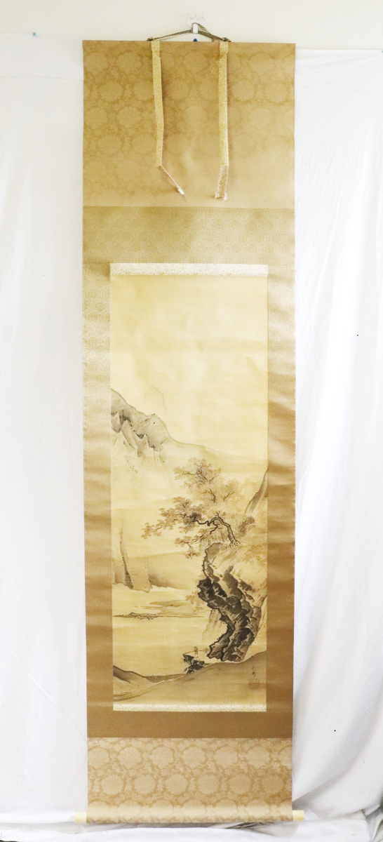59WKV 「橋本雅邦」 【模写】 秋山行旅図 秀邦題箱 二重箱 掛軸 骨董 明治期 日本画家
