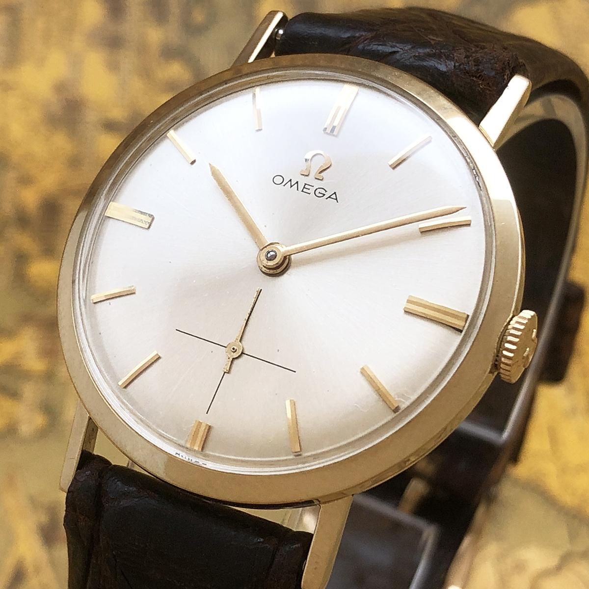 【美品14金無垢】OMEGA オメガ 1960s アンティーク 14K 金無垢 cal.510 銀文字盤 ビンテージ トリプル サイン 高級 ブランド メンズ 腕時計