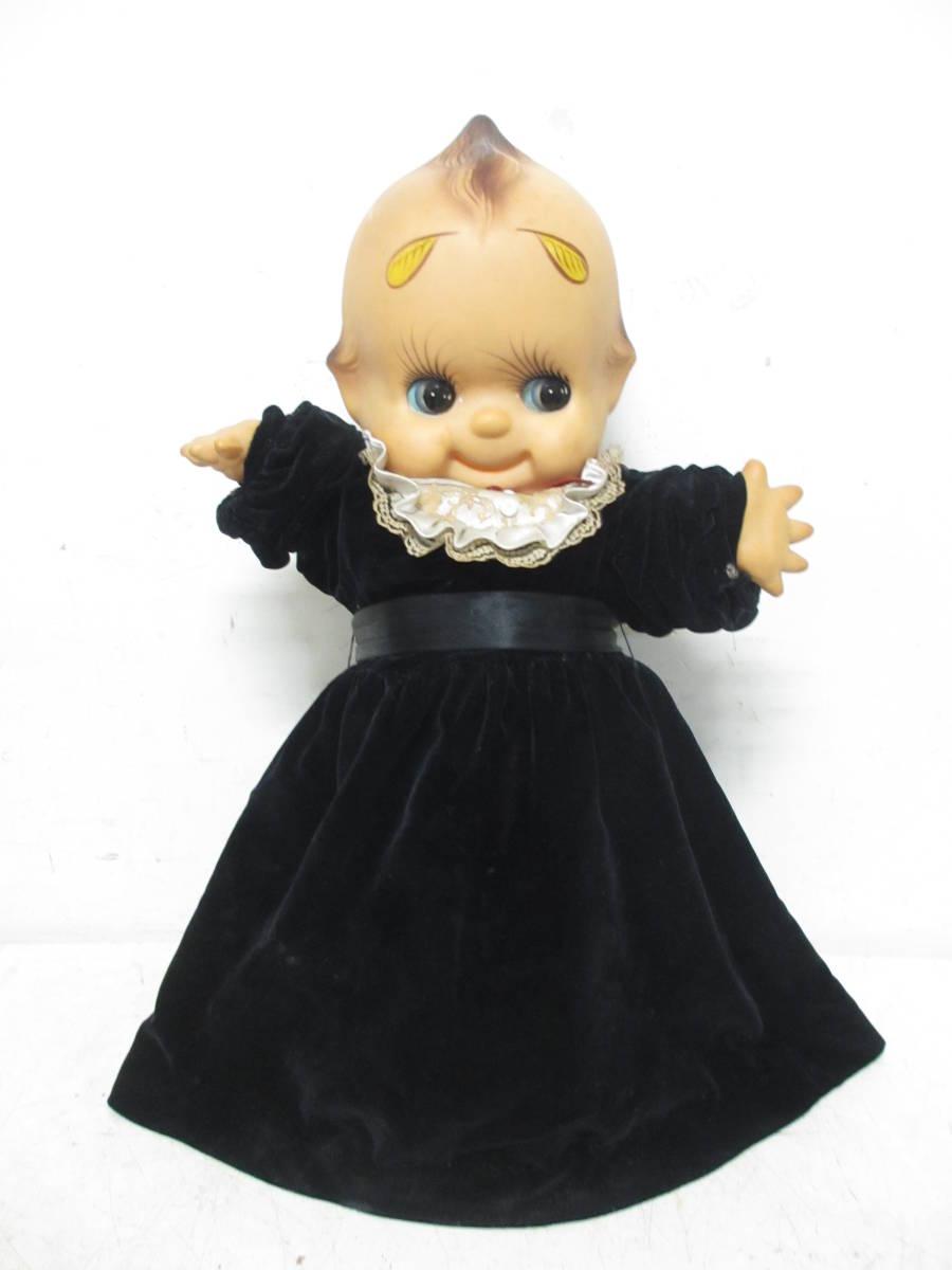 ※850 ☆希少☆昭和レトロ  ジャンボキューピー 人形  特大65cmくらい 個性的眉毛 ソフビ ビンテージ人形 洋服付き※
