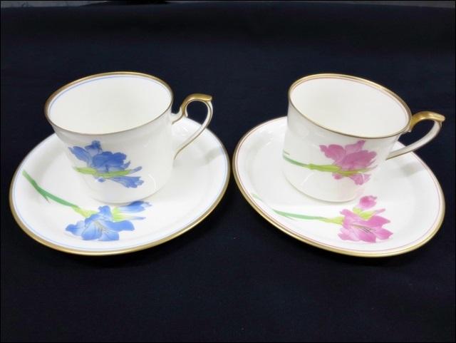 16 52-210445-02 香蘭社 KORANSHA コーヒーカップ ソーサー ペア 楕円型 皿 食器 洋食器 福52