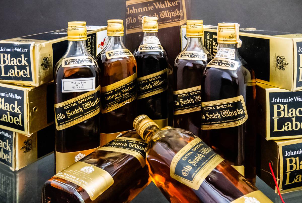 【未開栓】 7本 まとめ ジョニー ウォーカー ブラック ラベル エクストラ スペシャル 箱付 オールド ボトル 特級 ウイスキー 古酒 760ml