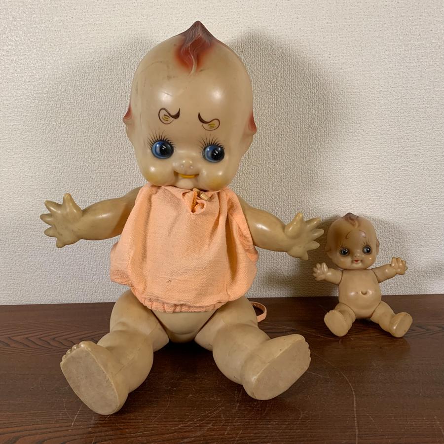 キューピー キューピー人形 大小2体 昭和レトロ 当時物 ソフビ d791